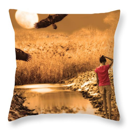 Landscape Throw Pillow featuring the digital art Reminiscence by Cathy Beharriell