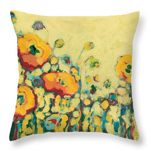 Floral Throw Pillow featuring the painting Reminiscing On A Summer Day by Jennifer Lommers