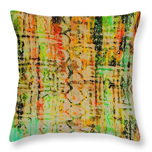 Monoprint Throw Pillow featuring the painting Remnants Of The Homeland by Wayne Potrafka
