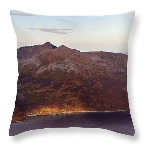 Norway Throw Pillow featuring the photograph Remote Arctic Island Village by David Broome