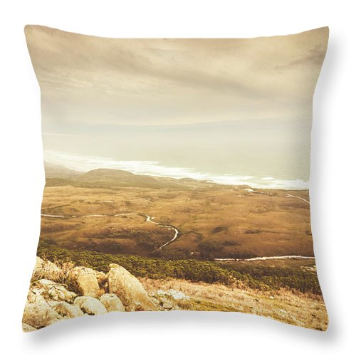 Vintage Throw Pillow featuring the photograph Remote Roads And Foggy Coastlines by Jorgo Photography - Wall Art Gallery