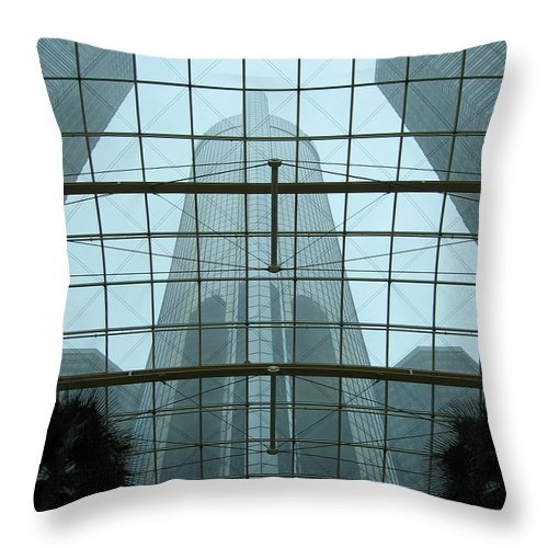 Detroit Throw Pillow featuring the photograph Rencen Inside Out by Ann Horn