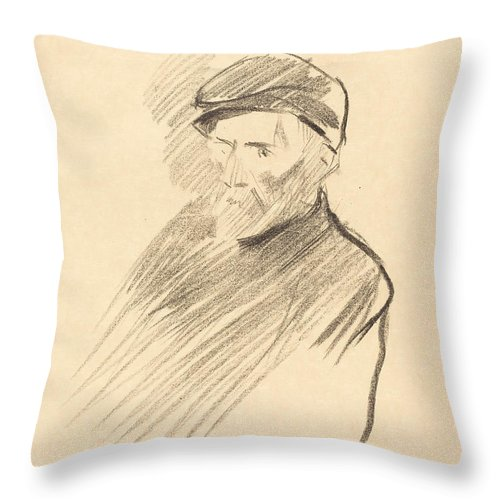 Throw Pillow featuring the drawing Renoir (first Plate) by Jean-louis Forain