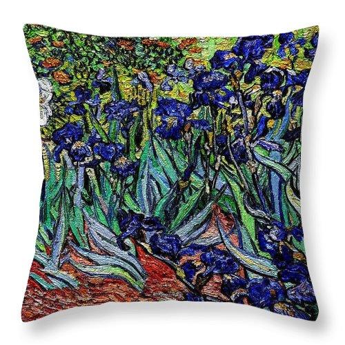 Still Life Throw Pillow featuring the digital art replica of Van Gogh irises by Pemaro