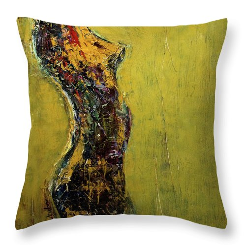 Abstract Throw Pillow featuring the painting Repose by Laura Warburton