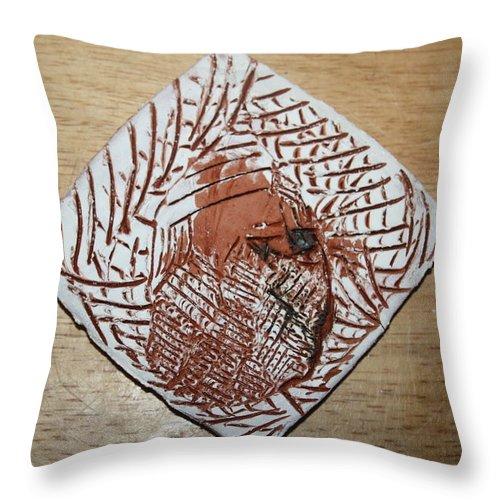 Jesus Throw Pillow featuring the ceramic art Repose- Tile by Gloria Ssali