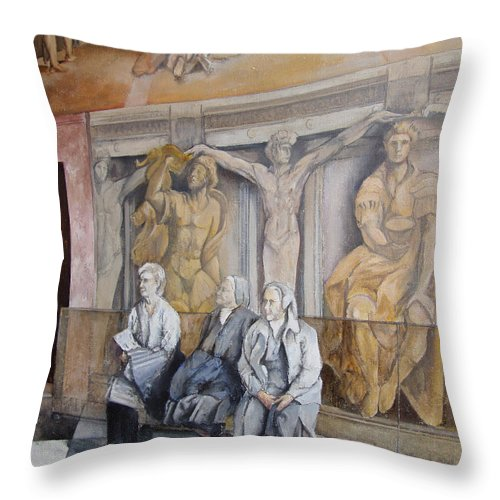 Vaticano Throw Pillow featuring the painting Reposo En El Vaticano by Tomas Castano