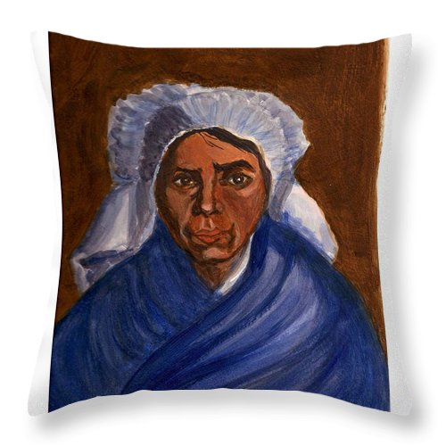 Peasant Woman By Van Gogh Reproduced Throw Pillow featuring the painting Reproduction Of Van Gogh by Asha Sudhaker Shenoy