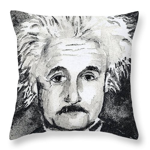 Man Throw Pillow featuring the mixed media Resemblance To Einstein by Arline Wagner