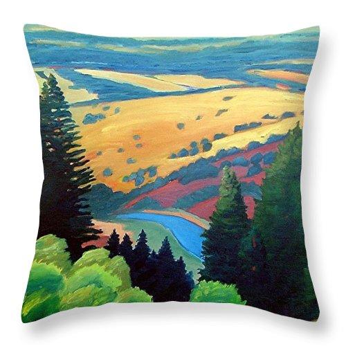 Rerservoir Throw Pillow featuring the painting Reservoir Below by Gary Coleman