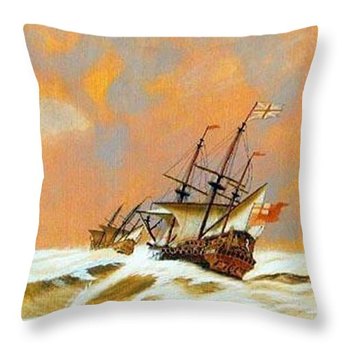 Resolution Throw Pillow featuring the painting Resolution by Richard Le Page
