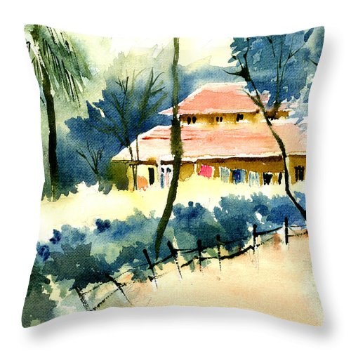 Landscape Throw Pillow featuring the painting Rest House by Anil Nene