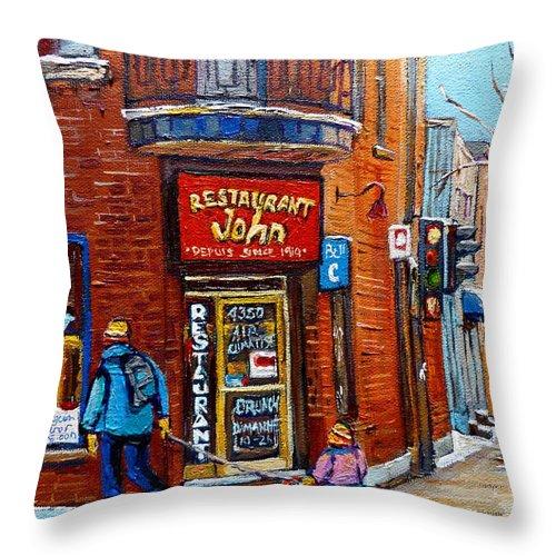 Restaurant John Montreal Throw Pillow featuring the painting Restaurant John Montreal by Carole Spandau
