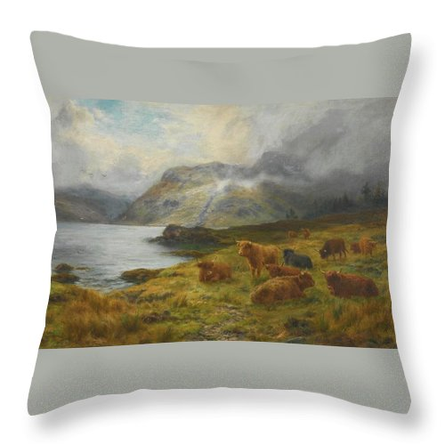 Louis Bosworth Hurt 1856-1929 Highland Cattle Resting By A Loch Throw Pillow featuring the painting Resting By A Loch by Louis Bosworth