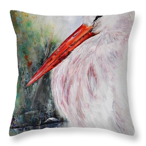 Natural Throw Pillow featuring the painting Resting by Lisa Cini
