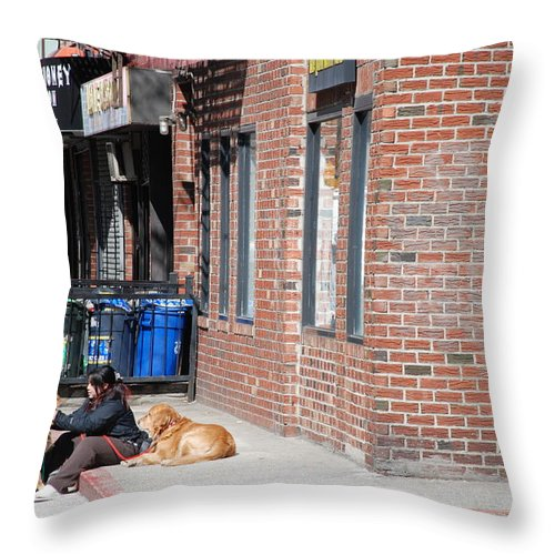 Girl Throw Pillow featuring the photograph Resting On The Corner by Rob Hans