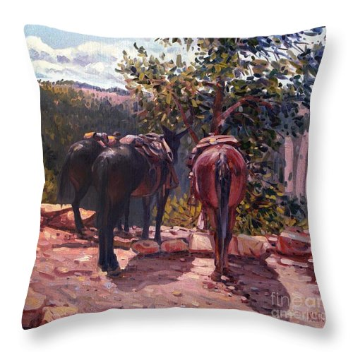 Mules Throw Pillow featuring the painting Resting on the Kaibab Trail by Donald Maier