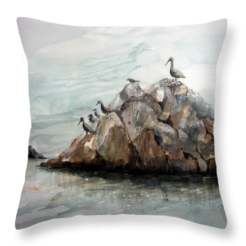 Rock Throw Pillow featuring the painting Resting Place - Corona Del Mar Ca by Arline Wagner