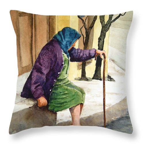 Old Lady Throw Pillow featuring the painting Resting by Sam Sidders