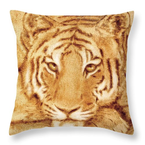 Scorched Throw Pillow featuring the tapestry - textile Resting Tiger by Dale Loos Jr