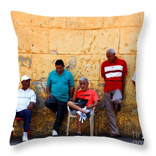 Senior Throw Pillow featuring the photograph Retired Men And Yellow Wall Cartegena by Thomas Marchessault