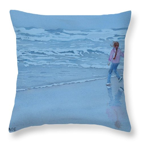 Ocean Throw Pillow featuring the painting Retreat by Jenny Armitage