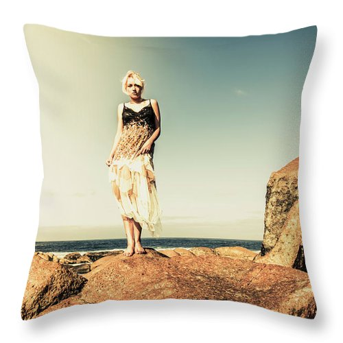 Retro Throw Pillow featuring the photograph Retro Beach Fashions by Jorgo Photography - Wall Art Gallery