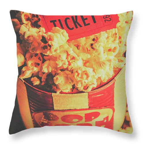 Food Throw Pillow featuring the photograph Retro Film Stub And Movie Popcorn by Jorgo Photography - Wall Art Gallery