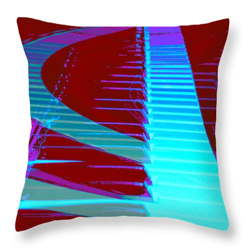 Piano Art Throw Pillow featuring the photograph Retro Keys by Linda Sannuti