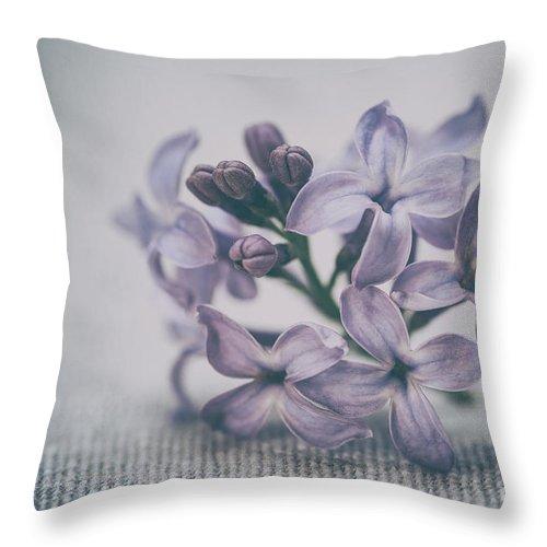 Lilac Throw Pillow featuring the photograph Retro Lilac Flower by Alenka Krek
