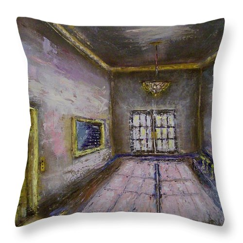 Lobby Throw Pillow featuring the painting Retro Lobby by Stephen King