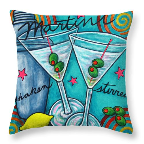 Alcohol Throw Pillow featuring the painting Retro Martini by Lisa Lorenz