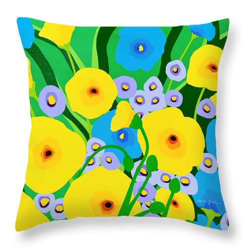 Florals Throw Pillow featuring the painting Retro Meadow by Linda Rauch