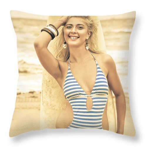 Caucasian Throw Pillow featuring the photograph Retro Surfing by Jorgo Photography - Wall Art Gallery