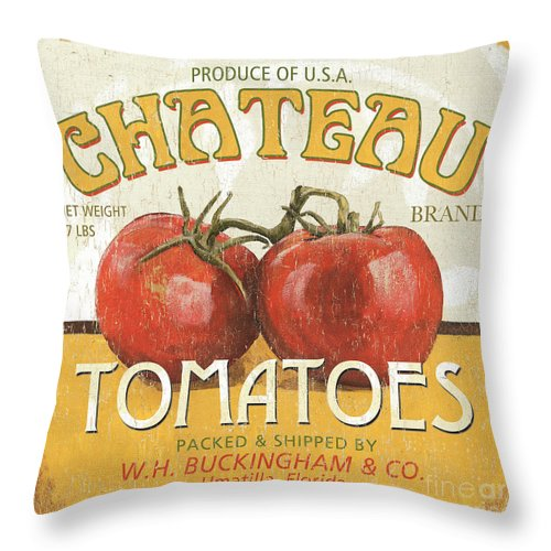 Food Throw Pillow featuring the painting Retro Veggie Labels 4 by Debbie DeWitt