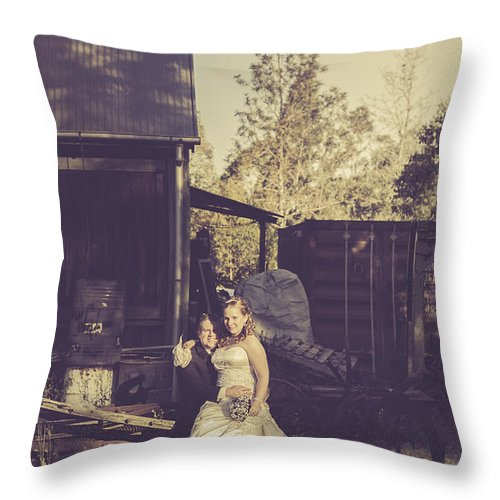 Wedding Throw Pillow featuring the photograph Retro Wedding Couple At Australian Farm Cottage by Jorgo Photography - Wall Art Gallery
