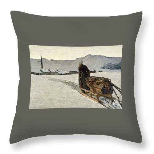Giovanni Segantini Throw Pillow featuring the painting Return From The Wood by MotionAge Designs