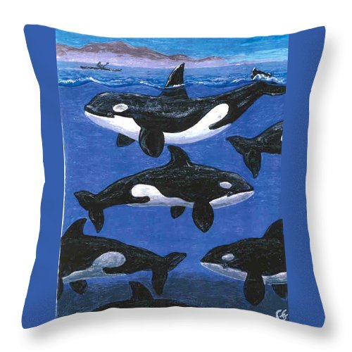 Orcas Throw Pillow featuring the painting Return Of The Whale by George I Perez