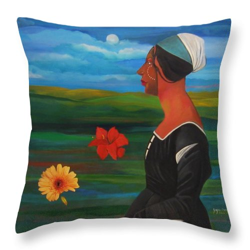 Figure Throw Pillow featuring the painting Revealed Truths And Myths 7 by Joyce Owens