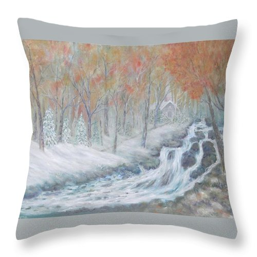 Snow; Landscape; Church Throw Pillow featuring the painting Reverence by Ben Kiger