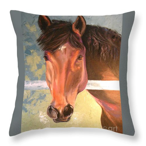 Horse Throw Pillow featuring the painting Reverie - Quarter Horse by Susan A Becker