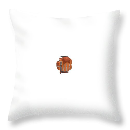 Throw Pillow featuring the photograph Review Of Alps Mountaineering Youth Red Rock External Frame Pack by Gear Head Junkie