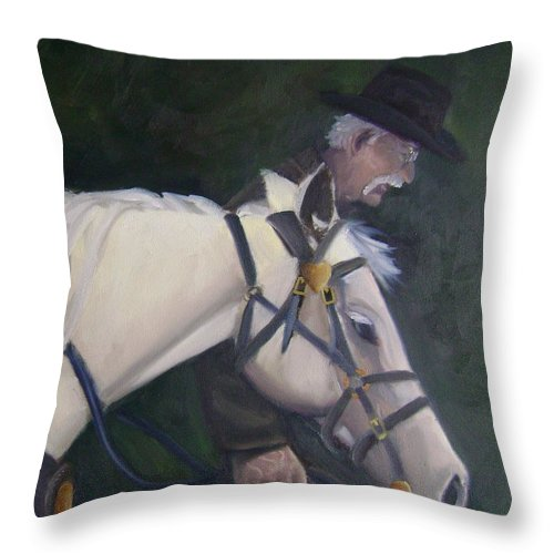 Old Man Horse... Throw Pillow featuring the painting revised- Man's Best Friend by Toni Berry