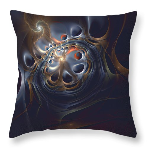Abstract Throw Pillow featuring the digital art Revolver by Casey Kotas