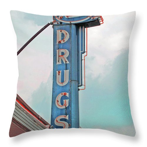 Rexall Throw Pillow featuring the photograph Rexall Drugs by Jost Houk