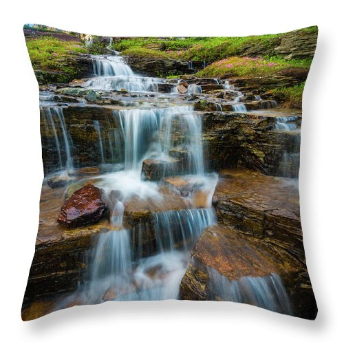 America Throw Pillow featuring the photograph Reynolds Mountain Waterfall by Inge Johnsson