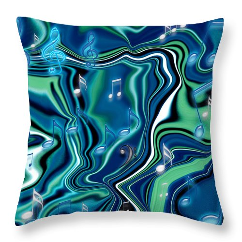 Blues Throw Pillow featuring the painting Rhapsody In Blue I by Donna Proctor
