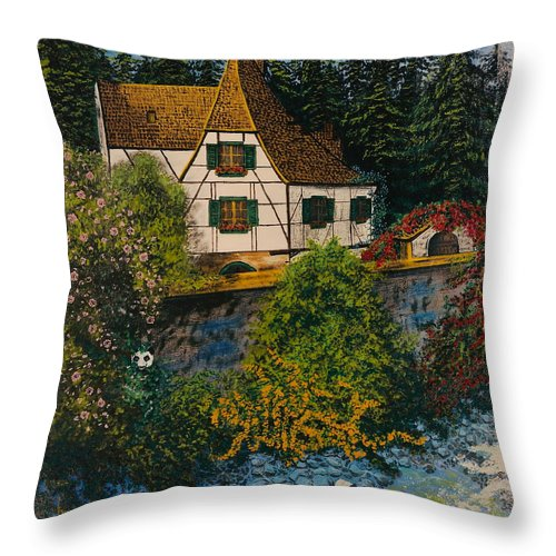 Germany Throw Pillow featuring the painting Rhine River Cottage by V Boge