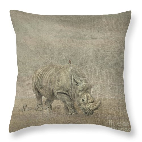 Rhino Throw Pillow featuring the digital art Rhino by Maria Astedt