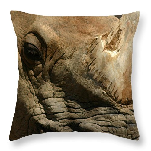 Rhino Throw Pillow featuring the photograph Rhino by Mary Haber